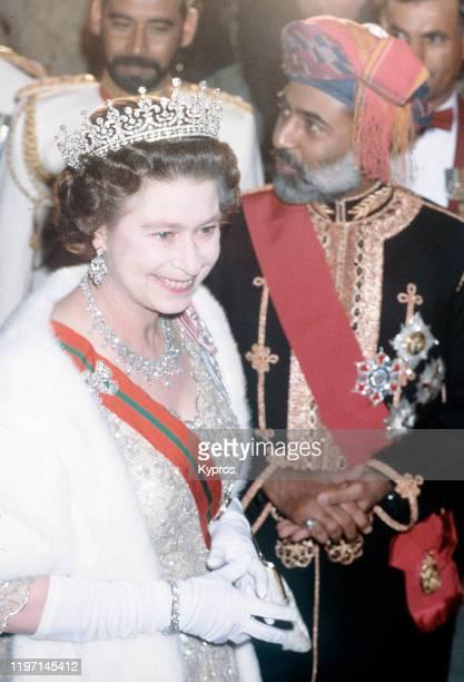 Queen Elizabeth II with Qaboos bin Said al Said the Sultan of Oman circa 1982