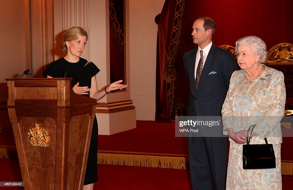 Queen Elizabeth II (R) with Sophie, Countess of Wessex (L) and Prince Edward, Earl of Wessex during her reception to celebrate the patronages & affiliations of the Earl and Countess of Wessex at Buckingham Palace on February 10, 2015 in London, England