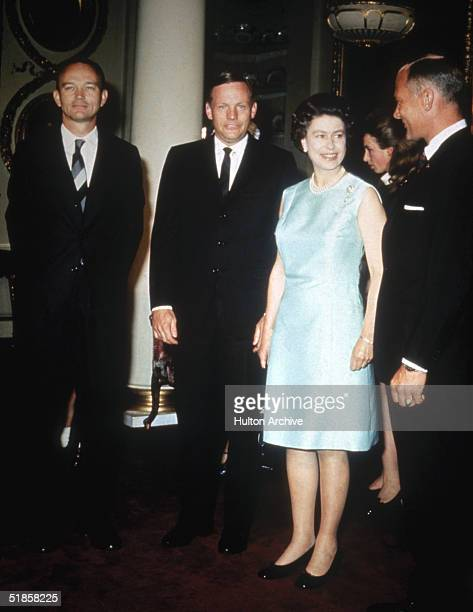 Queen Elizabeth II with the Apollo 11 astronauts at Buckingham Palace 1970 Left to right Michael Collins Neil Armstrong and Edwin 'Buzz' Aldrin