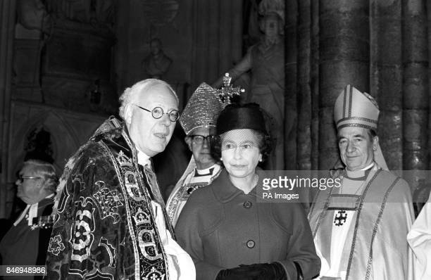 Queen Elizabeth II with the Dean of Westminster Abbey the Very Reverend Edward Carpenter left the Archbishop of Canterbury Dr Robert Runcie and the...