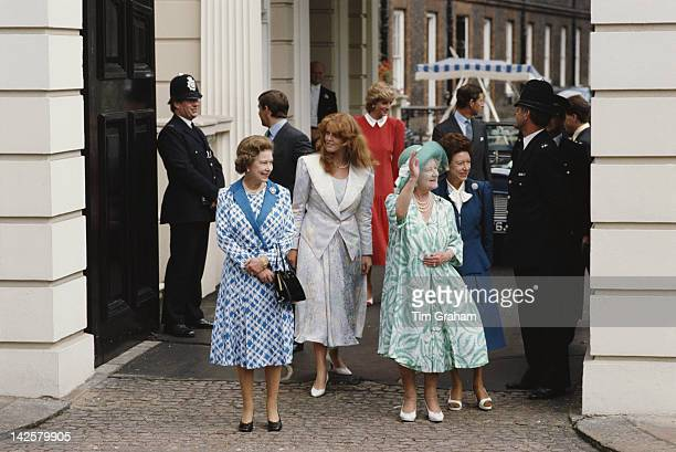 Queen Elizabeth II with the Duke and Duchess of York the Prince and Princess of Wales Princess Margaret and the Queen Mother outside Clarence House...