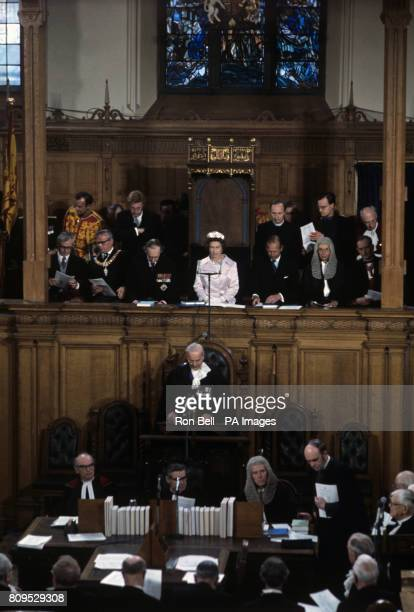Queen Elizabeth II with the Duke of Edinburgh, at St Giles Cathedral, Edinburgh, when they attended the official opening of the General Assembly of...