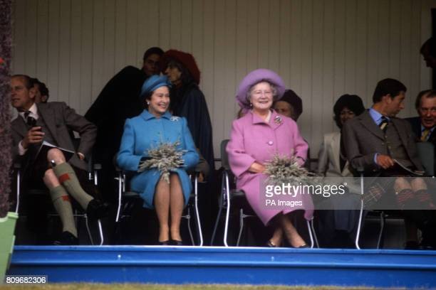 Queen Elizabeth II with the Duke of Edinburgh the Queen Mother and Prince of Wales watching the Braemar Games at the Princess Royal and Duke of Fife...