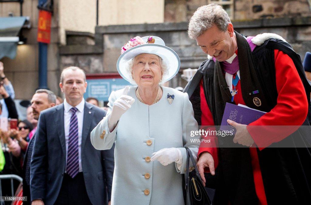 HM Queen Elizabeth II Visits Canongate Kirk In Edinburgh : News Photo