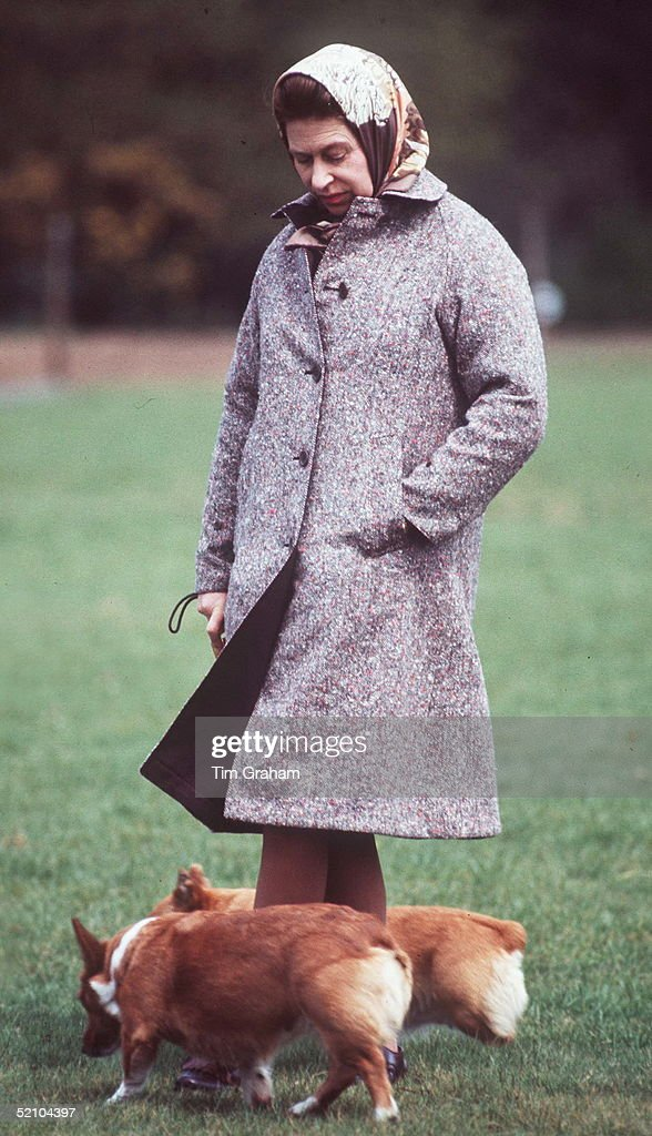Queen Elizabeth II With Two Of Her Corgis In The Grounds Of Windsor Castle (exact Date Not Certain). These Dogs Are Her Favourite Breed
