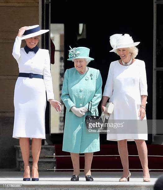 Queen Elizabeth II with US First Lady Melania Trump and Camilla, Duchess of Cornwall as the Queen officially welcomes US President Donald Trump...