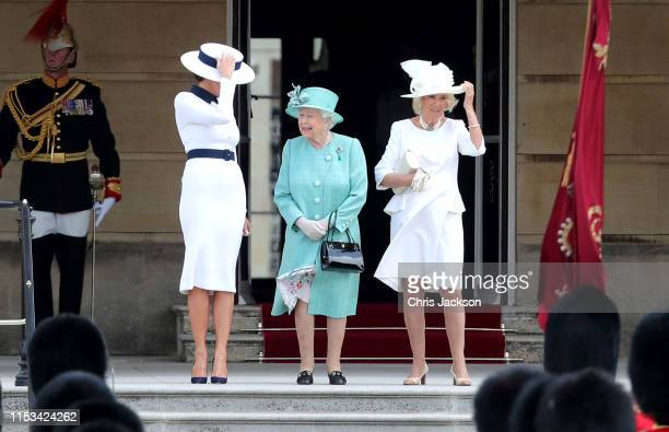 Queen Elizabeth II with US First Lady Melania Trump and Camilla Duchess of Cornwall as the Queen officially welcomes US President Donald Trump during...