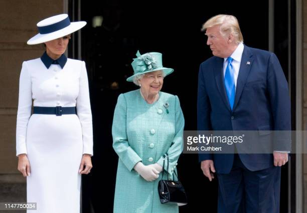 Queen Elizabeth II with US President Donald Trump and First Lady Melania Trump during the Ceremonial Welcome in the Buckingham Palace Garden on June...