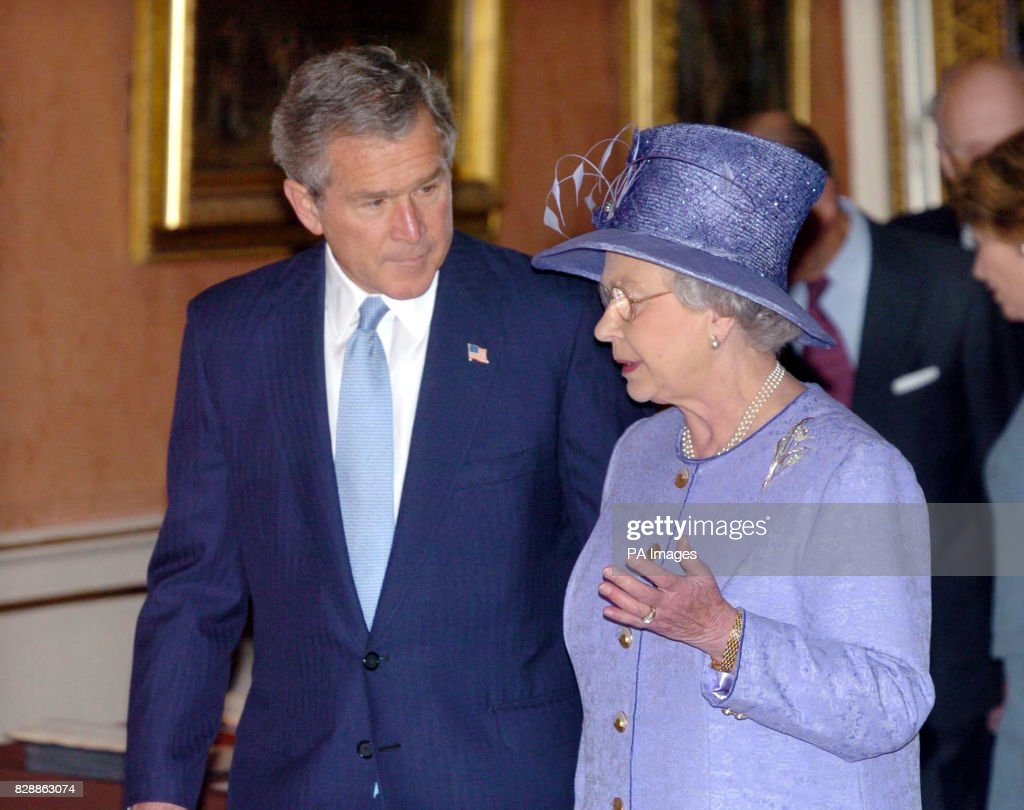Queen Elizabeth Ii With Us President George Bush During A Tour Of
