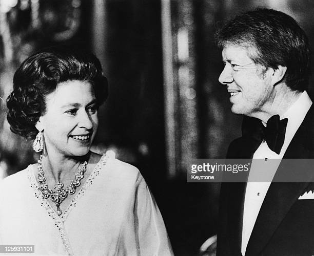 Queen Elizabeth II with US President Jimmy Carter in the Blue Drawing Room at Buckingham Palace London 10th May 1977 Carter and other NATO heads of...