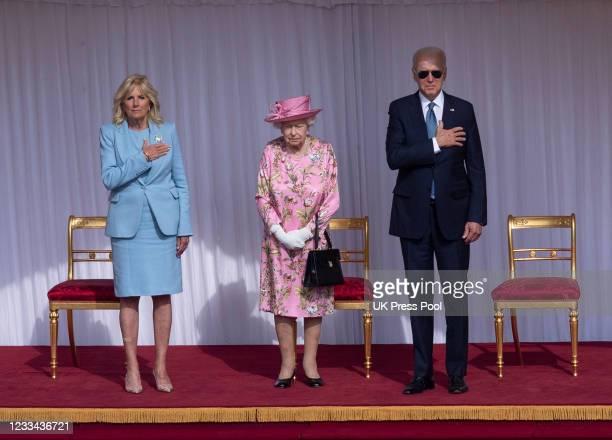 Queen Elizabeth II with U.S. President Joe Biden and First Lady Jill Biden at Windsor Castle on June 13, 2021 in Windsor, England. Queen Elizabeth II...