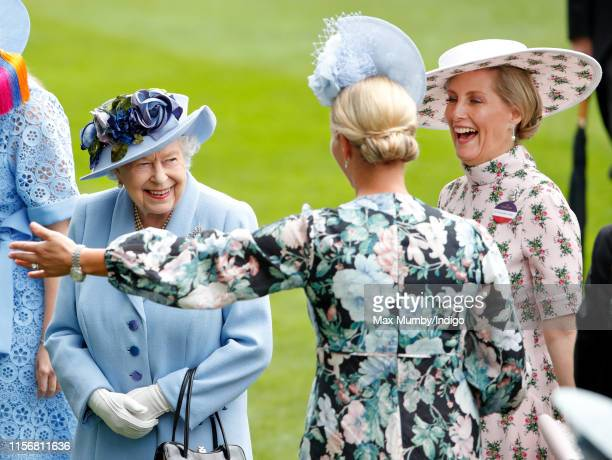 Queen Elizabeth II, Zara Tindall and Sophie, Countess of Wessex attend day one of Royal Ascot at Ascot Racecourse on June 18, 2019 in Ascot, England.