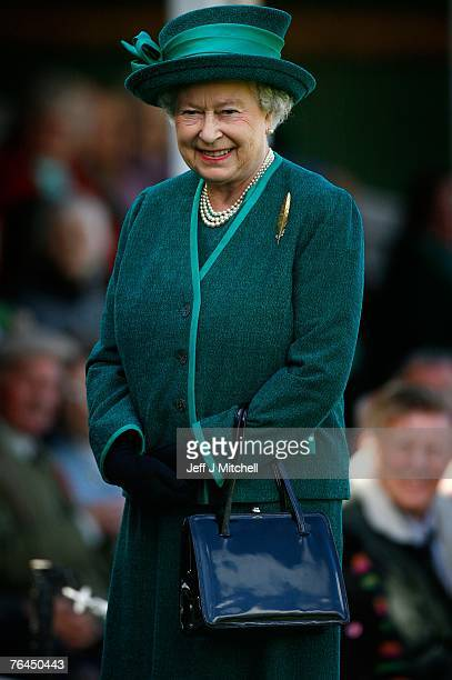 Queen Elizabeth IIarrives at the Braemar Gathering at the Princess Royal and Duke of Fife Memorial Park on September 1 2007 in Braemar Scotland The...