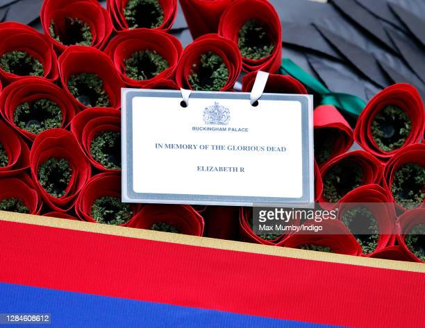 Queen Elizabeth II's message and poppy wreath which was laid on her behalf during the National Service of Remembrance at The Cenotaph on November 8...