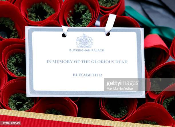 Queen Elizabeth II's message on her poppy wreath which was laid on her behalf during the National Service of Remembrance at The Cenotaph on November...