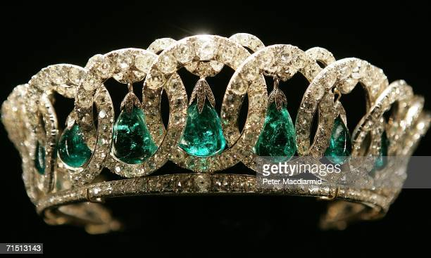Queen Elizabeth II's Vladimir Tiara is displayed at Buckingham Palace on July 25, 2006 in London. Celebrating the Queen's 80th birthday, the largest...