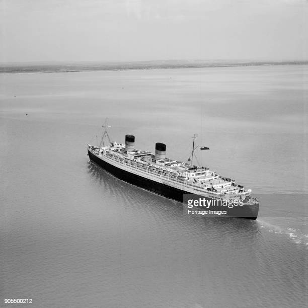 RMS 'Queen Elizabeth' in the Solent approaching Southampton Water Hampshire 1949 Artist Aerofilms