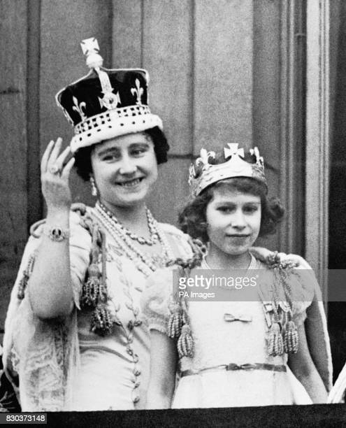 Queen Elizabeth is with her eldest daughter Princess Elizabeth on the balcony of Buckingham Palace after the coronation of King George VI
