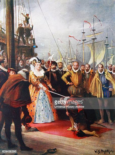 Queen Elizabeth knighting Drake 1581