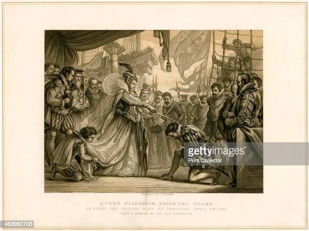 'Queen Elizabeth Knighting Drake on board the Golden Hind at Deptford April 4th 1581' Queen Elizabeth I knights Francis Drake on his ship Golden Hind...