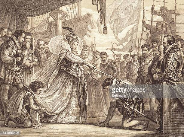 Queen Elizabeth knighting Sir Francis Drake on board the Golden Hind at Deptford April 4 1581 Engraving by F Fraenkel after a drawing by Sir John...