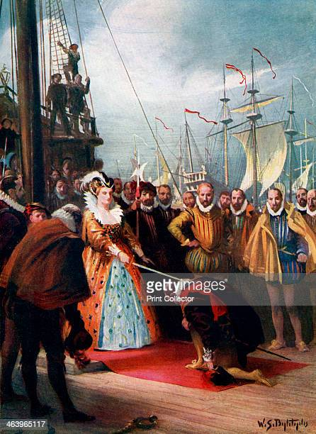 'Queen Elizabeth Knighting Sir Francis Drake' Queen Elizabeth I knights Francis Drake on his ship Golden Hind after his roundtheworld voyage...