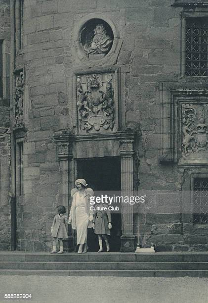 Queen Elizabeth later Queen Mother and Princess Elizabeth later Elizabeth II at Glamis Castle early 1930s beside Princess Margaret