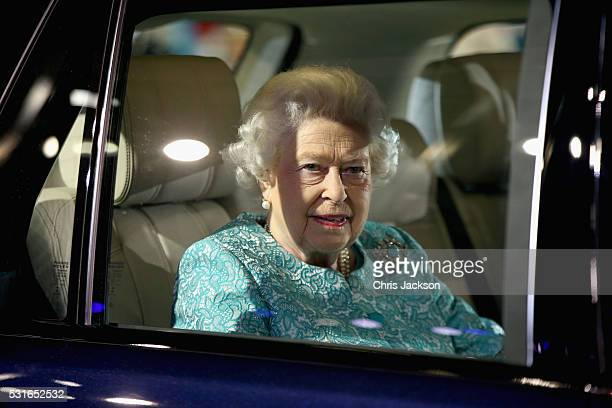 Queen Elizabeth laughs as she attends the final night of her 90th Birthday Celebrations at Windsor on May 15 2016 in Windsor England