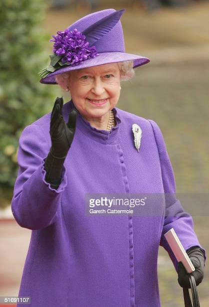 Queen Elizabeth leaves Chester Cathedral after the wedding of Lady Tamara Grovesnor on November 6, 2004 in Chester, England. Lady Tamara is the...