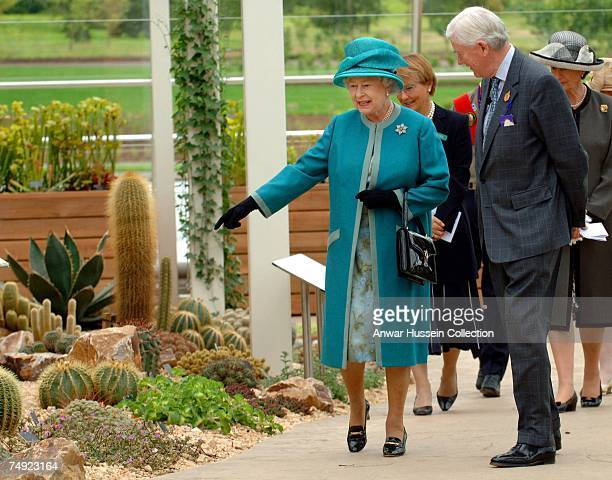 Queen Elizabeth ll, accompanied by the Society's President Peter Buckley, visits the Royal Horticultural Society Garden where she officially opened...