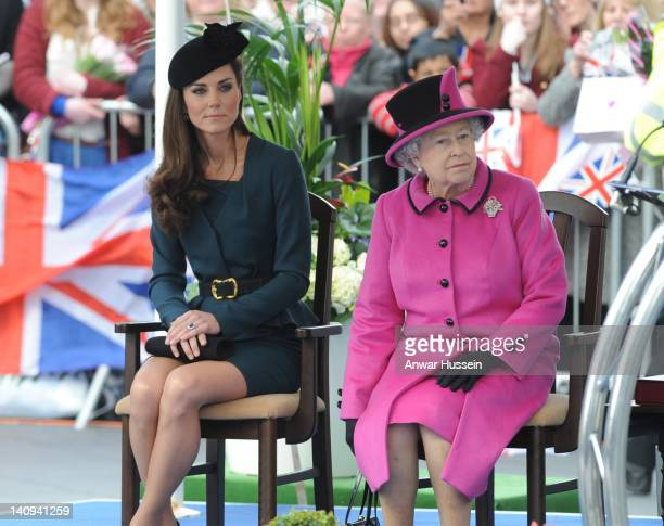Queen Elizabeth ll and Catherine Duchess of Cambridge visit Leicester City Centre on March 8 20121 in Leicester England The visit marks the start of...