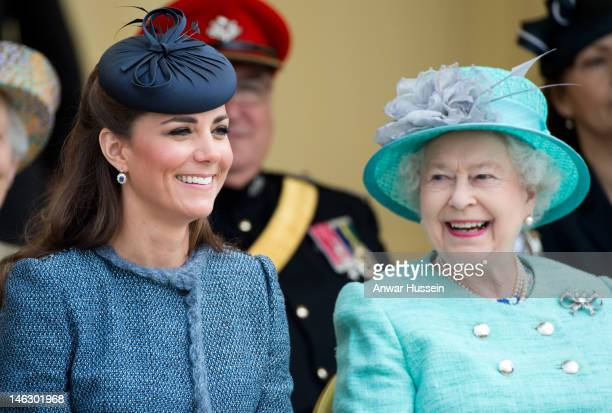 Queen Elizabeth ll and Catherine, Duchess of Cambridge visit Vernon Park during a Diamond Jubilee visit to Nottingham on June 13, 2012 in Nottingham,...