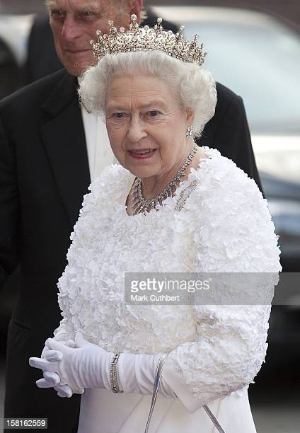 Queen Elizabeth Ll And Duke Of Edinburgh Attend A State Banquet At Dublin Castle With President And Dr Mcaleese And Also Prime Minister Cameron, In...