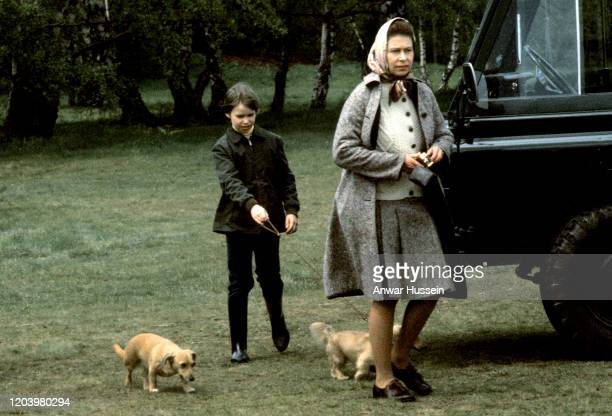 Queen Elizabeth ll and Lady Sarah ArmstrongJones walk with pet corgis which are a cross between a corgi and a dachshund at the Badminton Horse Trials...