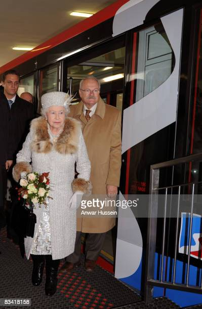 Queen Elizabeth ll and President Ivan Gasparovic arrive at Hrebienok Ski Resort on a funicular railway on the second day of a tour of Slovakia on...