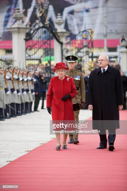 Queen Elizabeth ll and President Ivan Gasparovic arrive at the Presidential Palace on the first day of a State Visit to Slovakia on October 23, 2008...