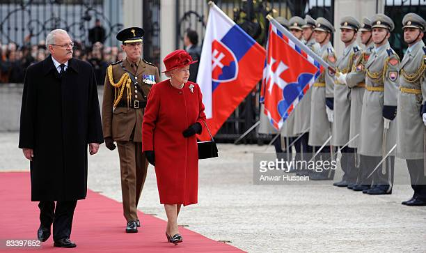 Queen Elizabeth ll and President Ivan Gasparovic arrive at the Presidential Palace on the first day of a State Visit to Slovakia on October 23 2008...