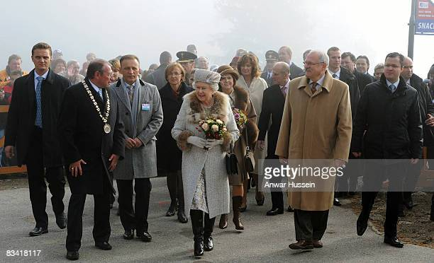 Queen Elizabeth ll and President Ivan Gasparovic visit Hrebienok Ski Resort on the second day of a State Visit to Slovakia on October 24, 2008 in...