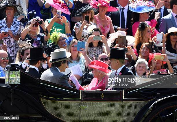 Queen Elizabeth ll and Prince Andrew, Duke of York arrive in an open carriage to attend the third day of Royal Ascot on June 21, 2018 in Ascot,...