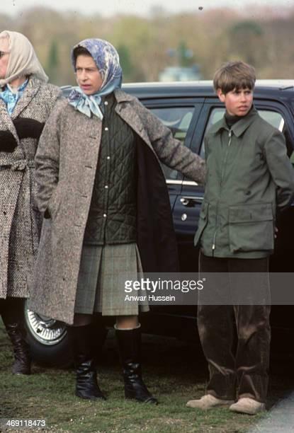 Queen Elizabeth ll and Prince Edward attend Badminton Horse Trials on April 16 1977 in Badminton England