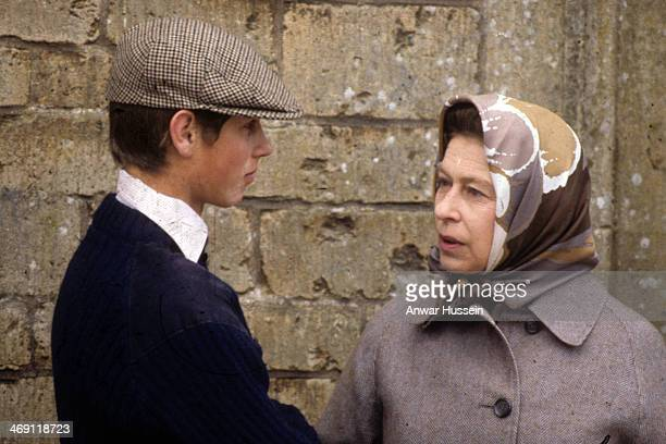 Queen Elizabeth ll and Prince Edward chat together as they watch the veterinary inspection at Badminton Horse Trials on April 01 1980 in Badminton...