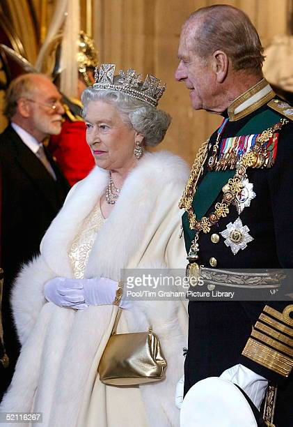 Queen Elizabeth Ll And Prince Philip Arriving At The Palace Of Westminster For The State Opening Of Parliament The Queen Is Wearing A Diamond Crown...