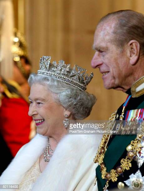 Queen Elizabeth Ll And Prince Philip Arriving At The Palace Of Westminster For The State Opening Of Parliament The Queen Is Wearing A Diamond Diadem...
