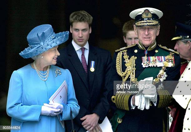 Queen Elizabeth ll and Prince Philip Duke of Edinburgh accompanied by Prince William and Prince Harry leave St Paul's Cathedral following The Golden...