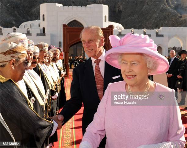Queen Elizabeth ll and Prince Philip Duke of Edinburgh arrive at the Al Alam Palace in Muscat to meet HM Sultan Qaboos of Oman on November 26 2010 in...