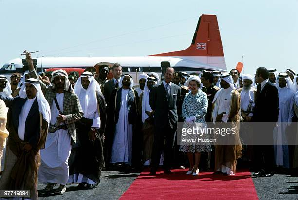 Queen Elizabeth ll and Prince Philip Duke of Edinburgh arrive at the airport in Abu Dhabai as part of their tour of the Gulf States on February 25...