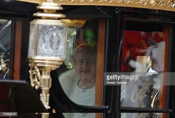 Queen Elizabeth ll and Prince Philip, Duke of Edinburgh arrive by coach at the House of Lords for the State Opening of Parliament on November 15,...