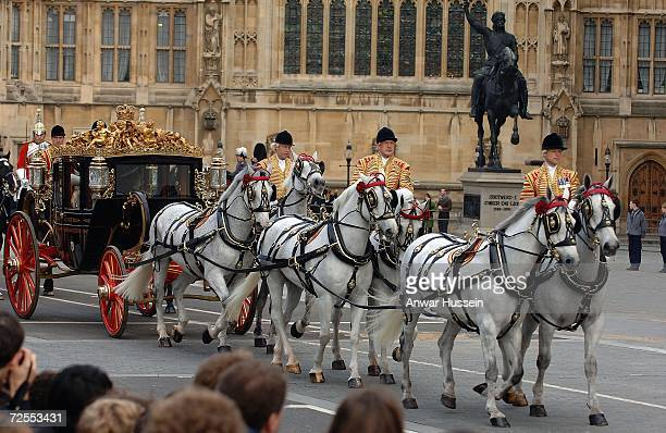 Queen Elizabeth ll and Prince Philip Duke of Edinburgh arrive by coach at the House of Lords for the State Opening of Parliament on November 15 2006...