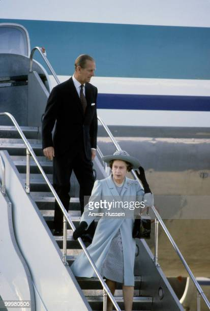 Queen Elizabeth ll and Prince Philip Duke of Edinburgh arrive by aeroplane for a visit to New Zealand in October 1981 in Wellington New Zealand