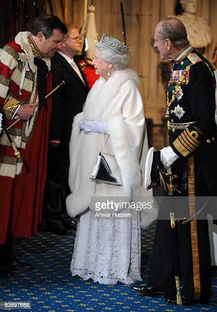 Queen Elizabeth ll and Prince Philip Duke of Edinburgh arrive for the State Opening of Parliament on December 3 2008 in London England